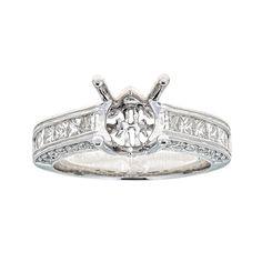 Natalie K 14k White Gold and Diamonds Engagement Ring