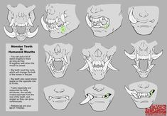 """""""Part 2 - Clawsies. Here are a couple things I try to keep in mind! There's a lot of room to break 'rules' here, but once again references are SUPER valuable. Teeth Drawing, Anatomy Drawing, Drawing Reference Poses, Design Reference, Art Sketches, Art Drawings, Fashion Sketches, Monster Drawing, Drawing Expressions"""