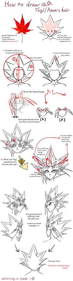 Tutorial : How To Draw Yugi's Hair by Ycajal.deviantart.com on @DeviantArt