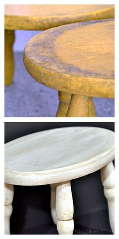 vintage stool makeover/ Learn how to create a Color Wash with #chalkyfinish paint / www.mrshinesclass.com #ad #decoartprojects