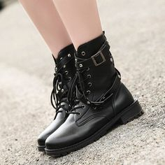 e931e9fddb4 Black Round Toe Lace Up Motorcycle Boots