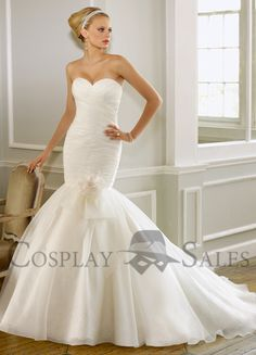 Ivory Brocade Organza Sweet Heart Mermaid Trumpet Wedding Dress