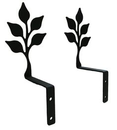 Wrought Iron Leaf Swag Holders Silhouette 2 7/8