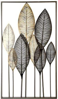 Wanddecoratie metaal 'bladeren' zwart/bruin Christmas Decor Diy Cheap, Flax Flowers, Abstract Flower Art, Leaf Texture, Gold Wallpaper, Diy Canvas Art, Canvas Designs, Seashell Crafts, Gold Art