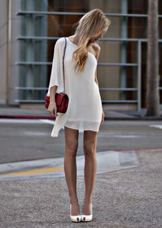 white dress, red bag, white shoes