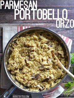 "This quick and easy Parmesan Portobello Orzo is the perfect ""go to"" side dish. BudgetBytes.com"