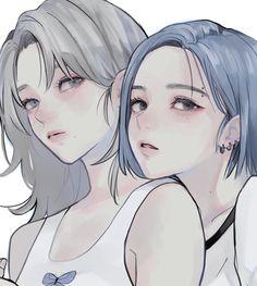 Anime Girlxgirl, Yuri Anime, Sad Anime, Kawaii Anime Girl, Anime Art Girl, Pretty Art, Cute Art, Aesthetic Art, Aesthetic Anime