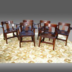 RARE set of six LIMBERT cafe chairs  Mission A&C Stickley  era   w2623 #MissionArtsCrafts #Limbert