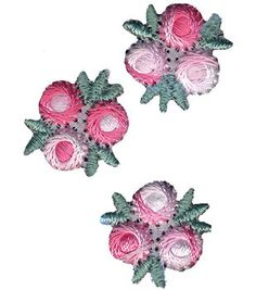 """Wrights Iron-On Appliques-Pink/White Flowers 3/4"""" 3/Pkg"""