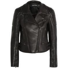 Tom FordTextured-leather Biker Jacket ($3,290) ❤ liked on Polyvore featuring outerwear, jackets, tom ford, coats, black, quilted moto jacket, zipper leather jacket, real leather jackets, quilted motorcycle jacket and leather motorcycle jacket