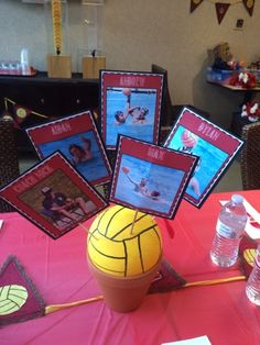 Water polo centerpieces Grad Pics, Grad Pictures, Men's Water Polo, Soccer Banquet, Banquet Centerpieces, Polo Team, Swimming Diving, Sports Party, Party