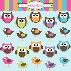 owls clipart digital clip art birds animals - Hoots and Tweets Clipart