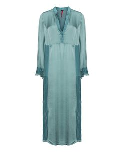 La Stampa Satin linen-blend maxi dress in Turquoise