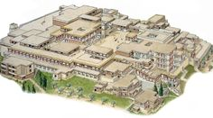 Minoan civilization / restored model of palace of Knossos, on Crete. The first palace dates to 1900 BC. It was abandoned at some unknown time at the end of the Late Bronze Age, c. Monumental Architecture, Ancient Greek Architecture, Historical Architecture, Art And Architecture, Greek History, Ancient History, Art History, Knossos Palace, Minoan Art
