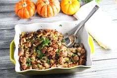 Mushroom and Pecan Stuffing with Fresh Herbs | A fresh take on the traditional, this tasty stuffing includes mushrooms and pecans for a hearty flavored dish that also has a satisfying crunch. @platingspairing