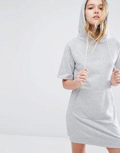 Image 1 ofDaisy Street Short Sleeve Hooded Sweat Dress With Kangaroo Pocket