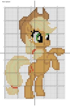 Here is a pattern for Applejack from My little pony: Friendship is magic. Cross Stitch Designs, Cross Stitch Patterns, Quilt Patterns, Cumple My Little Pony, C2c, Little Poney, Minecraft Pixel Art, Crochet Cross, Pony Beads