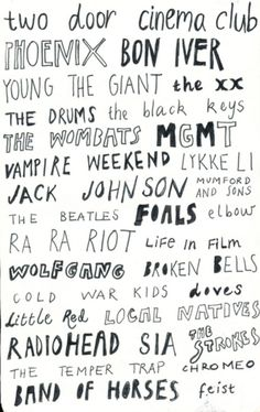 I literally love every single one of these bands. a couple of my all time favs are in there too! sooo perfect.