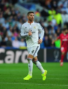 Sergio Ramos in action during the UEFA Super Cup match between Real Madrid CF and Sevilla FC at Cardiff City Stadium on August 12, 2014 in Cardiff, Wales.