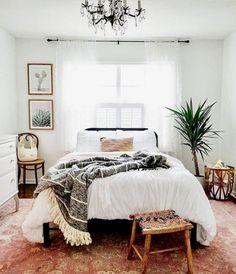 Minimalist Bohemian Bedroom / Boho Chic / Light and Airy Bedroom . - Minimalist Bohemian Bedroom / Boho Chic / Bright and Airy Bedroom - Bohemian Bedroom Decor, Home Decor Bedroom, Living Room Decor, Bedroom Inspo, Bedroom Plants, Bedroom Furniture, Living Rooms, Bedroom Decor Natural, Bedroom Decor For Couples On A Budget