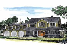 Farmhouse Style 2 story 4 bedrooms(s) House Plan with 2487 total square feet and 3 Full Bathroom(s) from Dream Home Source House Plans