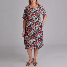 Plus Size La Cera Women's Plus Abstract Print Dress
