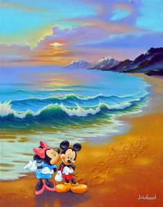 Disney Art on Main Street at Alexander's Fine Art - Minnie Loves Mickey Mickey And Minnie Tattoos, Mickey And Minnie Wedding, Mickey And Minnie Love, Mickey Mouse Art, Mickey Mouse Wallpaper, Mickey Mouse And Friends, Disney Wallpaper, Disney Mickey, Disney Cartoon Characters