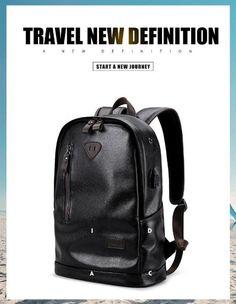 Leather Functional Men Waterproof backpack 2a87387b98940