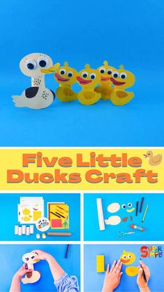 Make Five Little Ducks & Mother Duck for your classroom or homeschool and teach the song with some adorable helpers! Craft Projects For Kids, Craft Activities For Kids, Preschool Crafts, Toddler Activities, Kids Crafts, Orange Craft, Yellow Crafts, Five Little, Little Duck