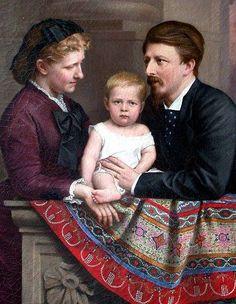 Pintura de D. Pedro de Alcântara com seus pais, Conde D'Eu e a Princesa Isabel.