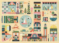 Eläinten kaupunki, Finland by Lotta Nieminen Lotta Nieminen, Sell Stamps, Plans, Types Of Art, Graphic Design Illustration, Graphic Art, Embedded Image Permalink, Recherche Google, Postage Stamps