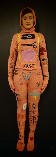 Kate Just : knitted burial suit; the photo and the knitted suit will be on display at Glen Eira City Gallery from May 30 - June 16 as part of her PhD exhibition, 'The Texture of Her Skin'