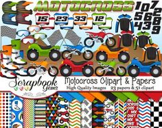 MOTOCROSS Scrapbook Clipart and Papers Kit, Instant Download road, rally , ATV, 4-wheeler, motocycle, dirt bike, racing flag.
