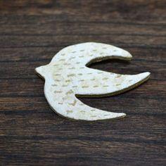 陶器*鳥のブローチ(大)