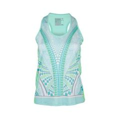 LUCKY IN LOVE Women`s Retro Wave Racerback Tennis Tank Seafoam ($58) ❤ liked on Polyvore featuring activewear and activewear tops