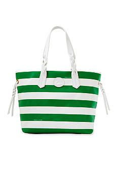 "Dooney & Bourke Striped Nylon Shopper, Green / White; $149.00  SALE $110.99; 12.5"" L x 6.75"" W x 11.25"" H, Snap closure, Gold-plated brass hardware; Leather trim; Tassels, 1 inside zip pocket; 1 inside pocket; Cell phone pocket, Key clip, Double handles w/10"" drop, Nylon, Imported  -  www.Belk.com   (08.07.14)"
