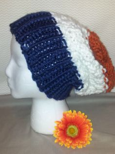 colors: go broncos! orange, blue & white  style: slouchy size: adult