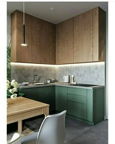 There is something in the combination of materials and colors that call my eyes. Kitchen interior design using wood and greens. There is something in the combination of materials and colors that call my eyes. Kitchen interior design using wood and greens. Apartment Kitchen, Home Decor Kitchen, Apartment Design, New Kitchen, Kitchen Grey, Kitchen Paint, Kitchen Hacks, Grey Kitchens, Cool Kitchens
