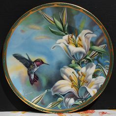 Pickard Cyndi Nelson Plate Ruby Throated Hummingbird Gems of Nature Vintage USA China Painting, Ceramic Painting, Fabric Painting, Hummingbird Pictures, Decoupage Plates, Rose Flower Wallpaper, Acrylic Painting Lessons, Pictures To Paint, Bird Art