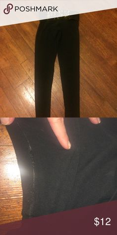 Victoria's Secret black yoga pants Size XS. No sequins are missing. Somewhere in the crotch area. Hole. Not perfect but still very cute PINK Victoria's Secret Pants Leggings