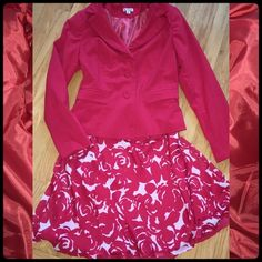 """Red Blazer & Skirt Suit Size 10 NWOT in closet.  Never worn. Recently dry cleaned to remove dust & press.  Is machine washable though  Red & white floral print skirt is lined & is 23"""" long with elastic waist.  Jacket is fully lined as well, with faux pockets and fabric covered buttons. Chadwicks Jackets & Coats Blazers"""
