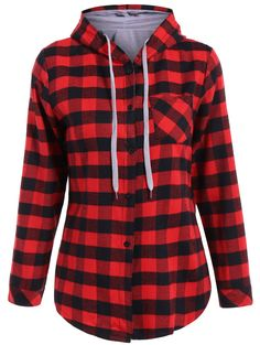 Casual Long Sleeve Hooded Plaid Check Shirt - RED M