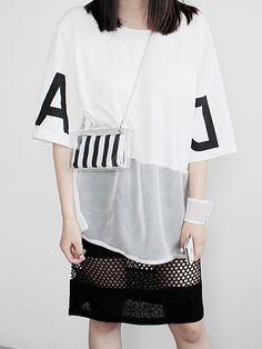 #Choies White T-shirt With Sheer Hem