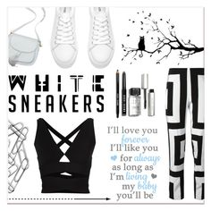 """""""Bright white sneakers"""" by faigylefkowitz ❤ liked on Polyvore featuring Proenza Schouler, Bobbi Brown Cosmetics, Kenzo and Home Decorators Collection"""