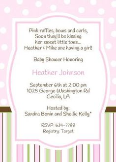 Baby girl shower inviation with polka dots and stripes in pink, green and brown.
