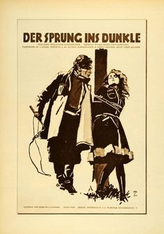 """Der Sprung ins Dunkle"" This is an original 1926 photogravure of a cinema advertising poster by Ludwig Hohlwein. Period Paper is pleased to offer a collection o"