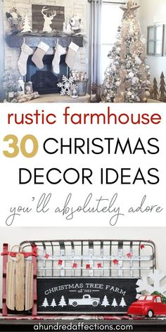 If you love rustic farmhouse decor, you'll love these Christmas decorating ideas! So much inspiration for mantels, entryways, porches and eating areas! Click now to get your house Christmas-ready, farmhousestyle! Christmas Tree Farm, Farmhouse Christmas Decor, Christmas Mantels, Rustic Farmhouse Decor, Cozy Christmas, Rustic Christmas, Rustic Decor, Christmas Decorations, Christmas Trimmings