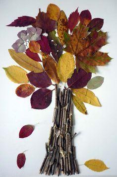 Basteln im Herbst: Herbstbaum aus Laub und Stöckchen #Basteln #DIY #Herbstdeko