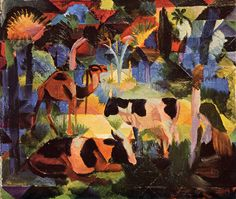 Landscape with Cows and Camel  Artist:August MackeYear:1914Type:Oil on canvas