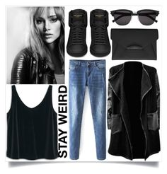 """""""Street Style"""" by madeinmalaysia ❤ liked on Polyvore featuring MANGO, Yves Saint Laurent, Givenchy and Burberry"""